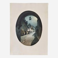 Antique Etching and Aquatint Landscape Old French City Street  20th c