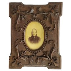 Victorian Antique Frame for Miniature Photo Picture or Mirror Carved Wood Fleur-de-Lis 19th century