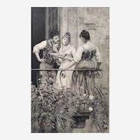 19th Antique Etching Victorian Romantic Scene Engraving After Eugen De Blaas