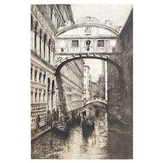 Landscape Etching Architectural Venice The Bridge Of Sighs