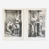 Pair Of Antique Etchings  19th Century  Neoclassical Style Roman Scene Maternity