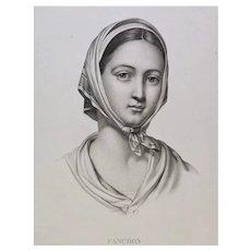 Antique Etching Female Portrait Fanchon After Drawing By Lemire