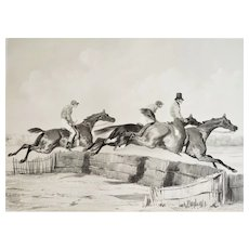 Horse Racing (Steeple-chase) Antique Lithographie  after Alfred de Dreux 19th c