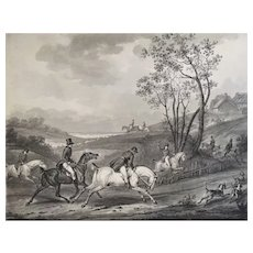 19th Hunting Horse Antique Engraving After Carle Vernet