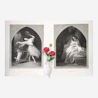 Pair of Antique Etchings Esmeralda After Steuben Engraved By Jazet 19th c