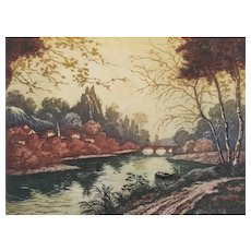 Landscape Autumn Etching by French Painter Forest Engraving Modern Art