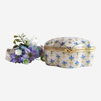 Vintage Jewelry Box with Hand Painted Floral Decor Pill Box Porcelain Limoges Miniature Trinket Box