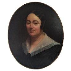Victorian Female Portrait Antique Oil Painting French Women 19th c