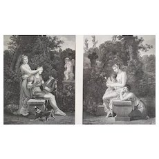 Antique etchings Pair of engravings neoclassical 19th c