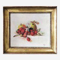 Still Life Strawberries And Apples Victorian Antique Oil Painting