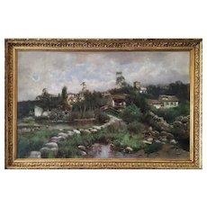 Antique Oil Painting Landscape Village By Spanish Painter Antonio Gomar Y Gomar 19th c