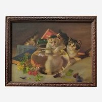 Two Kittens Print Wall Art, Cat Painting Victorian Litograph after French Oil Painting Cat Lover Gift Ideas