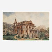 Antique Architecture Drawing In Watercolor And Ink Manor In Swiss England Or Austria