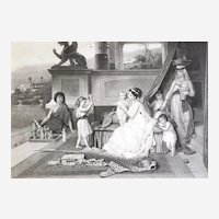 19th C Engraving Ancient Greece Antique Etching After Brochart The Dealer Of Statuettes