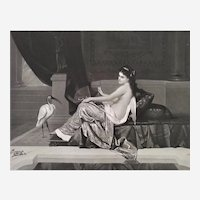 19th C Engraving Nude Woman Antique Large Etching Mythlogy