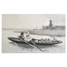19th C Engraving Antique Large Etching Holland Landscape