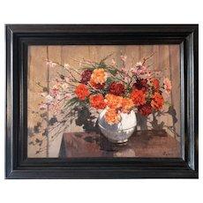 Oil Painting  Still Life Flowers Mid Century