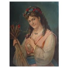 Antique Chromolithograph Victorian Female Portrait Syblol of Summer