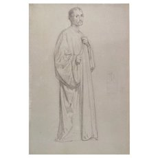 William Bouguereau Man In A Toga Antique Drawing 19th C