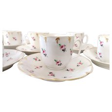 Victorian Porcelain Coffee Tea set 7 Cups and Saucers Handpainted Floral Decor