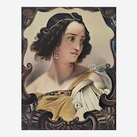 Antique Lithograph Colored In Watercolor And Gouache Oriental Woman Judith After Horace Vernet