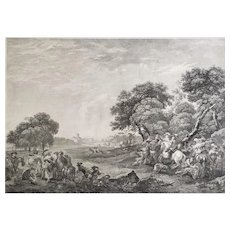 Engraving Antique Etching 18th c Hunting After Berghem
