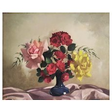 Oil Painting Mid Century Still Life Flowers Roses By Belgian Painter