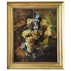 Antique Oil Painting Victorian Still Life With Grapes by French Painter 19th C.