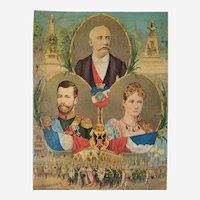 Tsar Nicholas II Emperor of Russia Empress Alexandra Feodorovna Tsarina Antique Chromolithograph 19th c History Portraits