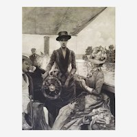 On Board Of The Yacht Antique Etching After Julius Leblanc Stewart 19th c