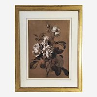 Victorian Still Life Flowers Roses Antique Gouache Drawing 19th c