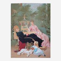 Victorian Large Color Lithograph After Tony Faivre 19th C Antique Print