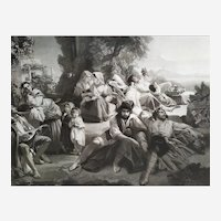 Antique Etching Italian Scene Victorian Engraving After Winterhalter 19th