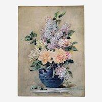 Antique Still Life Flower Lilacs Roses Watercolour Gouache Victirian Style