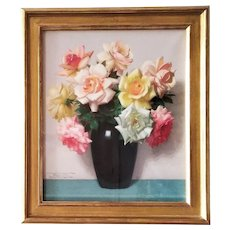 Flowers Roses Still Life Pastel Mid Century Framed French Painting
