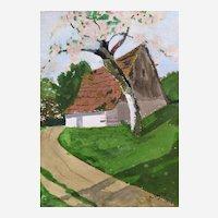 Art Deco Drawing Gouache Landscape Village Spring Painting