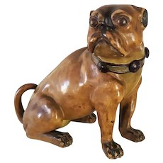 TABACCIAN BOX Antique Patinated Terracotta Tobacco Dog The Pug Brand Bernard Bloch
