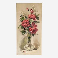 Still Life Flower Roses Botanical Antique Chromolithograph Botany Print Mid century