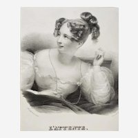 Antique Lithograph Victorian Portrait of a Lady 19th c Fashion