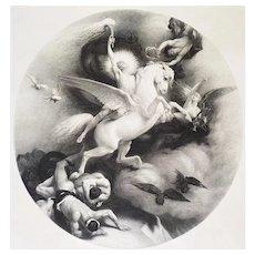 Allegorical Etching The Triumph Of Art Greek Mythology 19th c
