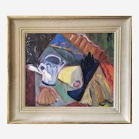 Oil Painting Still Life Mid Century By French Painter Lanzmann