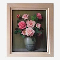 Vintage Painting Pastel Still Life Bouquet Of Roses By French Painter Robert Duflos