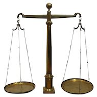Large Antique Balance Scale made of Brass and Bronze, 19th Justice Scale Decor