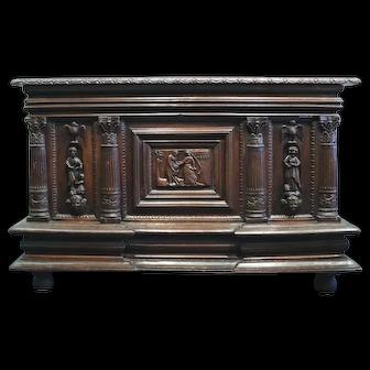 16th Century - Antique Renaissance Normand Oak Wooden Chest, Medieval Style Decor