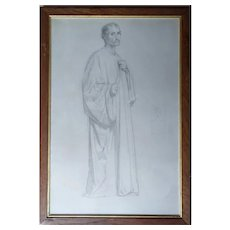 William Bouguereau, 1860 Portrait Drawing of a Religious Man in a Toga