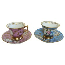 French Antique Porcelain Floral Coffee Cups and Saucers, Hand Painted with Flower Bouquet