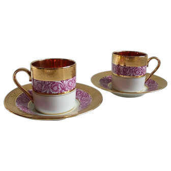 Set of 2 Vintage French Limoges Rose & Golden Cups and Saucers, made from Fine Porcelain and Hand Gilted