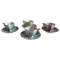 1900 - Set of 4 Victorian Style Porcelain Teacups and Saucers, Origine from Luxembourg