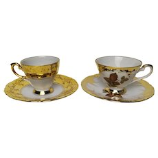 Set of 2 Vintage Golden Coffee Cups and Saucers in Bone China Porcelain, Hand Gilted
