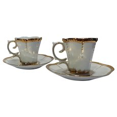 Set of 2 Vintage Golden Coffee Cups and Saucers in Fine Porcelain, Hand Painted with Golden Queen Stamp